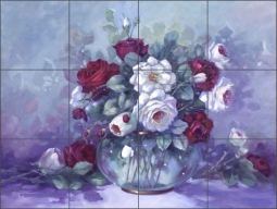 Red and White Roses by Wanta Davenport Ceramic Tile Mural - POV-WDA005