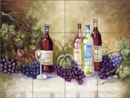 Davenport Wine Grapes Ceramic Tile Mural POV-WDA006