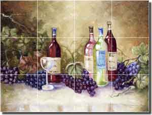 "Davenport Wine Grapes Ceramic Tile Mural 17"" x 12.75"" - POV-WDA006"