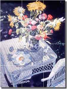 "Wright Flowers Floral Ceramic Tile Mural 12.75"" x 17"" - POV-WWA006"