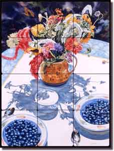 "Wright Fruit Kitchen Still Life Tumbled Marble Tile Mural 18"" x 24"""