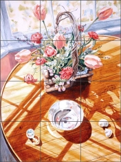 Tulip Bouquet with Bowl by William C. Wright Ceramic Tile Mural - POV-WWA010