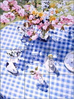 Under the Cherry and Daffodils by William C. Wright Ceramic Tile Mural - POV-WWA011