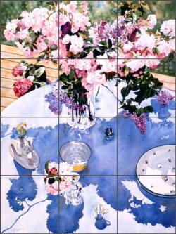 Under the Cherry and Lilac by William C Wright Ceramic Tile Mural - POV-WWA012