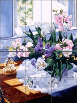 Watch and White Tulips by William C Wright Ceramic Tile Mural - POV-WWA013