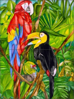 Birds in Paradise by Ruth Daniels Ceramic Tile Mural - RD001
