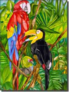 "Daniels Tropical Birds Glass Tile Mural 18"" x 24"" - RD001"