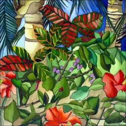 Caribbean Landscape by Ruth Daniels Ceramic Accent & Decor Tile - RD002AT