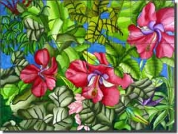 "Daniels Hibiscus Floral Glass Tile Mural 24"" x 18"" - RD003"