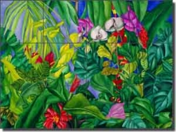 "Daniels Tropical Floral Glass Tile Mural 24"" x 18"" - RD004"