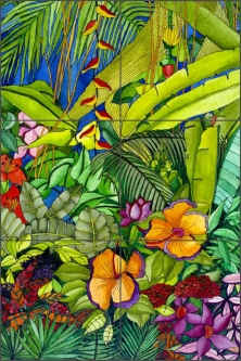 Tropical Immersion by Ruth Daniels Ceramic Tile Mural - RD005