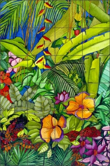 "Daniels Tropical Floral Glass Tile Mural 24"" x 36"" - RD005"