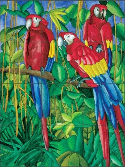 Daniels Tropical Parrot Bird Glass Tile Mural - RD006