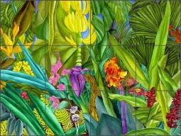Daniels Tropical Floral Glass Tile Mural - RD007