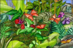 Daniels Tropical Butterflies Ceramic Tile Mural - RD009
