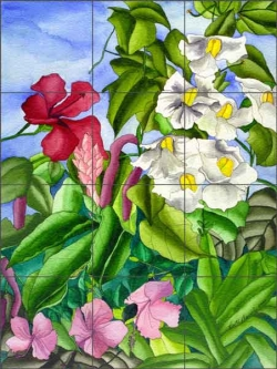 Daniels Tropical Floral Glass Tile Mural - RD010