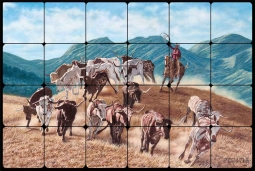 Longhorns by Ralph Delby Tumbled Marble Tile Mural - RDA001