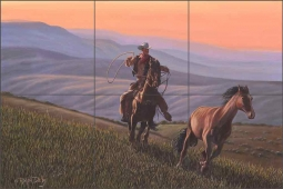 Sundown Rider by Ralph Delby Ceramic Tile Mural RDA002