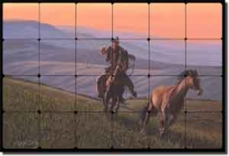 "Delby Cowboy Western Art Tumbled Marble Tile Mural 24"" x 16"" - RDA002"