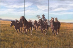 Morning Herd by Ralph Delby Ceramic Tile Mural - RDA003