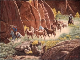 Canyon Herd by Ralph Delby Ceramic Tile Mural RDA004
