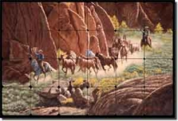 "Delby Western Horses Tumbled Marble Tile Mural 24"" x 16"" - RDA004"