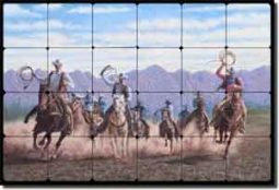 "Delby Western Cowboys Tumbled Marble Tile Mural 24"" x 16"" - RDA005"