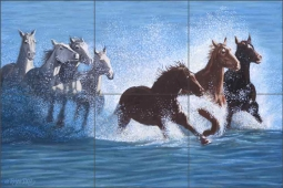 Horses in the Surf by Ralph Delby Ceramic Tile Mural RDA010
