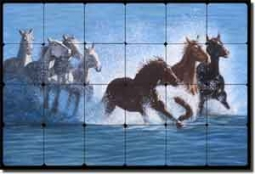 "Delby Horses Surf Art Tumbled Marble Tile Mural 36"" x 24"" - RDA010"