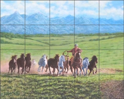 Green Valley Herd by Ralph Delby Ceramic Tile Mural RDA012
