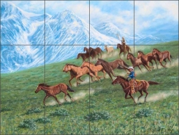 Mountain Herd by Ralph Delby Ceramic Tile Mural - RDA013