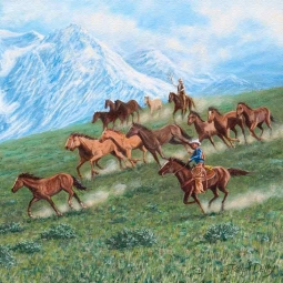 Mountain Herd by Ralph Delby Floor Accent Tile - RDA013ATFL