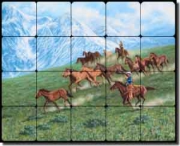 "Delby Western Cowboy Horses Tumbled Marble Tile Mural 20"" x 16"" - RDA013"