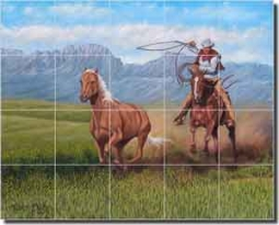"Back to the Herd by Ralph Delby Ceramic Tile Mural 21.25"" x 17"" - RDA014"
