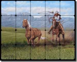 "Delby Western Cowboy Tumbled Marble Tile Mural 30"" x 24"" - RDA014"