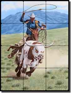 "Delby Western Cowboy Tumbled Marble Tile Mural 18"" x 24"" - RDA015"
