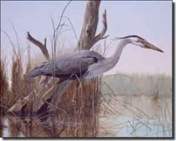"Binks Heron Wildlife Ceramic Accent Tile 10"" x 8"" - REB001AT"