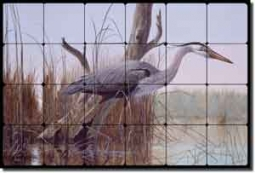 "Binks Heron Wildlife Tumbled Marble Tile Mural 24"" x 16"" - REB001"