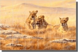 "Breakfast Club by Robert Binks - Lion Animal Tumbled Marble Mural 16"" x 24"" Kitchen Shower Backsplas"