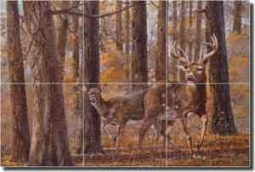 "Binks Deer Animal Glass Tile Mural 18"" x 12"" - REB007"
