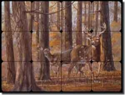 "Binks Deer Animals Tumbled Marble Mural 16"" x 12"" - REB007"