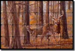 "Binks Deer Animals Tumbled Marble Mural 24"" x 16"" - REB007"