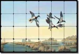 "Binks Duck Bird Lodge Art Tumbled Marble Tile Mural 24"" x 16"" - REB010"