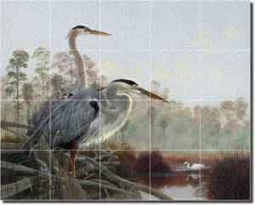 "Binks Heron Egret Birds Glass Tile Mural 30"" x 24"""