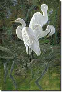 "Binks Egrets Birds Wildlife Glass Tile Mural 24"" x 36"" - REB013"