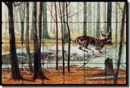 "Binks Animals Deer Tumbled Marble Mural 24"" x 16"" - REB017"