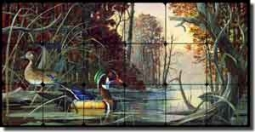 "Binks Wildlife Ducks Tumbled Marble Tile Mural 24"" x 12"" - REB019"