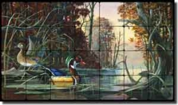 "Binks Wildlife Ducks Tumbled Marble Tile Mural 28"" x 16"" - REB019"
