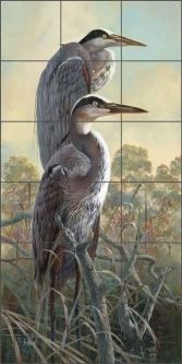Graceful Herons by Robert E. Binks Ceramic Tile Mural - REB020