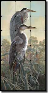 "Binks Wildlife Herons Tumbled Marble Tile Mural 12"" x 24"" - REB020"